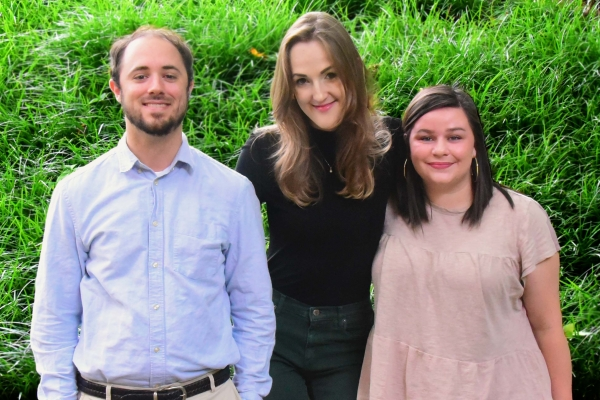 Group photo of the 2021 Thomas D. Walsh Graduate Research Fellowship Finalists: Steve Schmal, Kimber Focke, and Ashley Blackwell